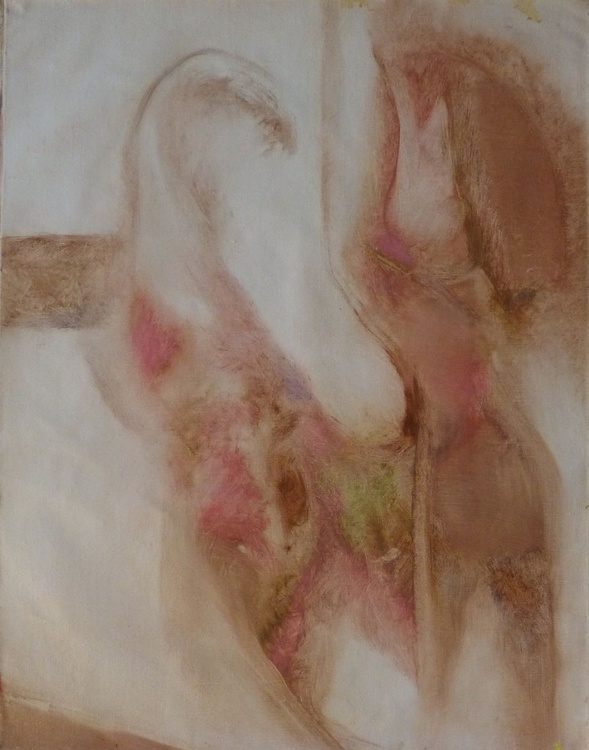 Small abstract painting 3, oil on canvas 64x50 cm - Image 0
