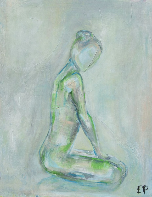 Green with Envy-Abstract nude figure study by Emily Powell - Image 0