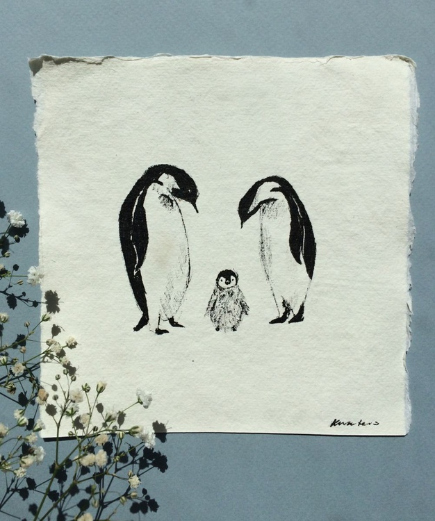 Penguin Family Sketch - Image 0