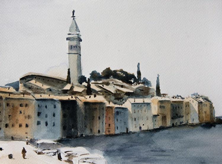 """Port of Rovinj"", original watercolour painting, 24x18 cm, ready to hang - Image 0"