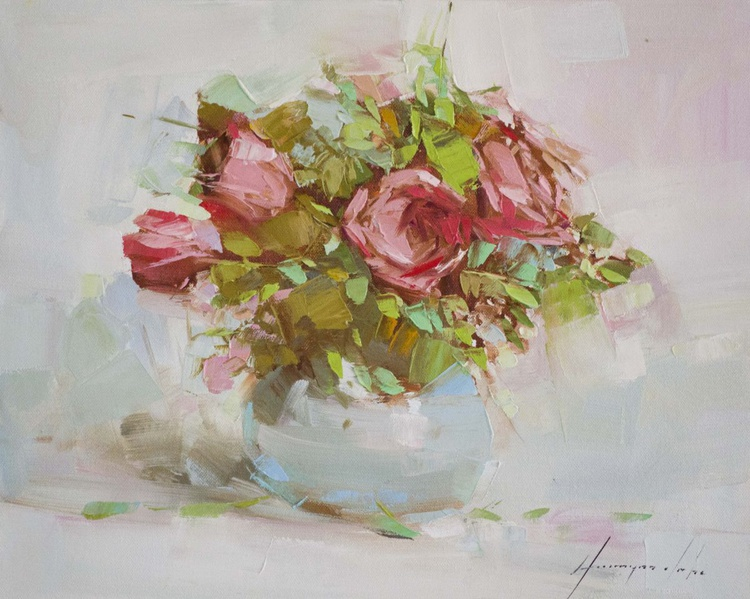 Vase of Roses Handmade oil Painting  One of a kind Signed with Certificate of Authenticity - Image 0