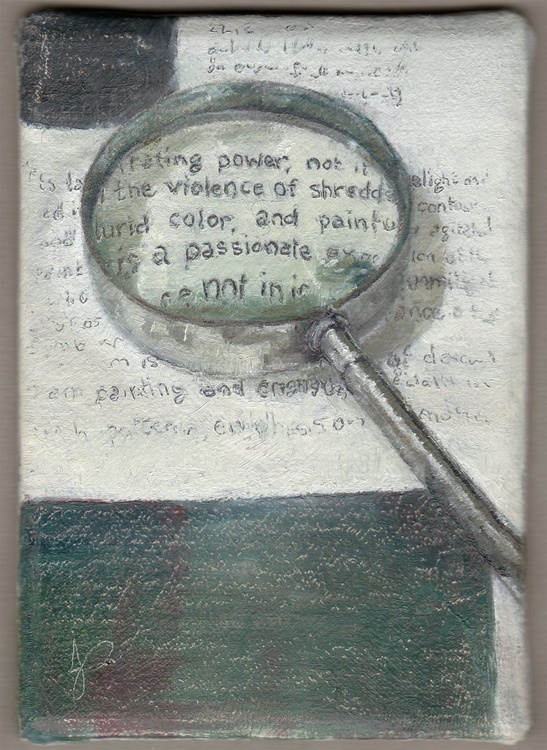 """'The Testy Text' ACEO Alla Prima / 2.5"""" × 3.5"""" - Image 0"""