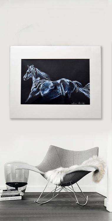 White / Horse Equine Art  Modern Contemporary Wall Art Home Decor  by Anna Sidi - Image 0