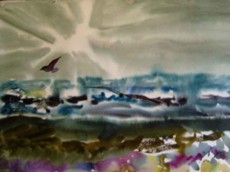Breath of the Sea, watercolor painting 61x43 cm