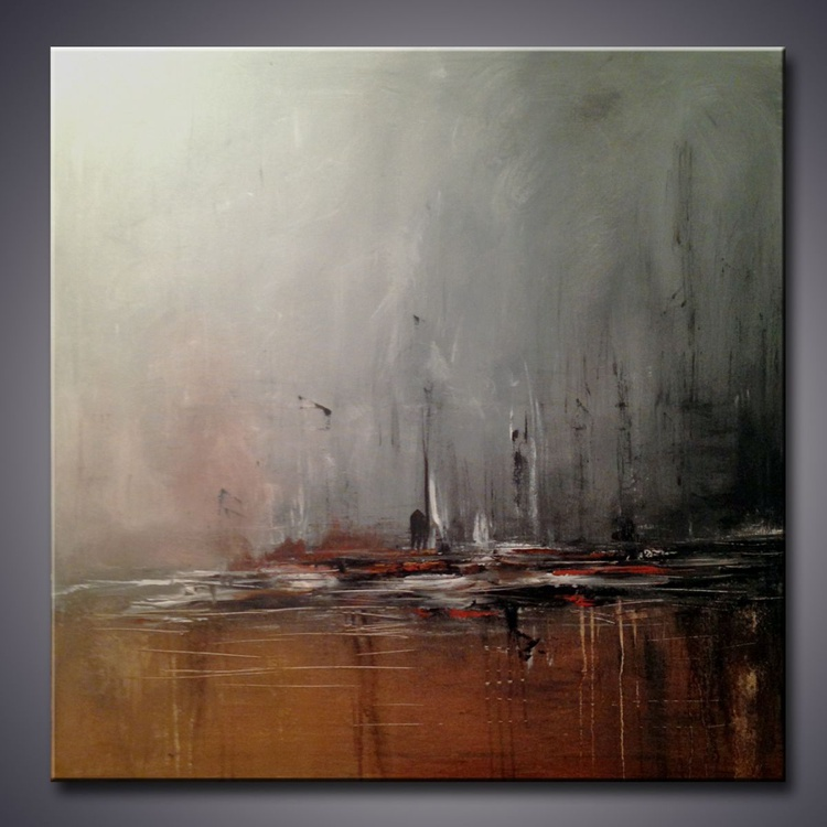 """"""" Storm Over The City"""" 42"""" Large Abstract Painting, Art Painting Large landscape modern abstract  art - Image 0"""
