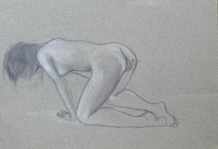 Lolita 1, pastel on grey paper 21x29 cm - FREE shipping - Image 0