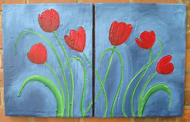 tulip painting texture abstract Flower original hand made floral art canvas - 32 x 20 inches - Image 0