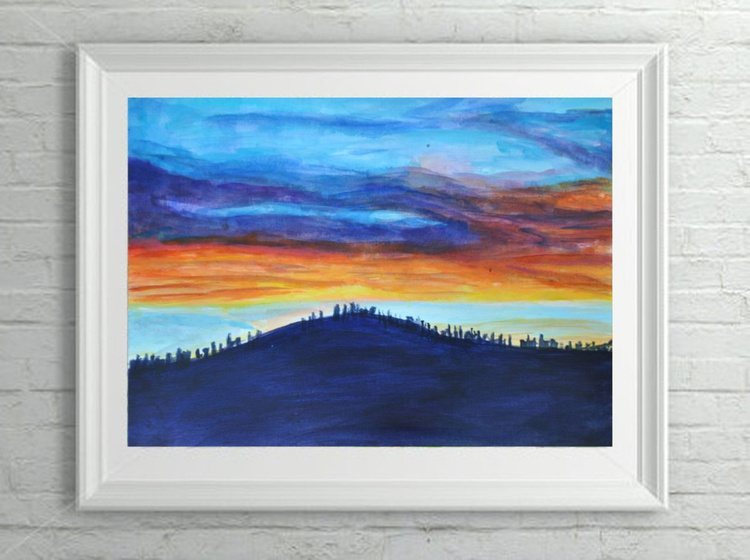 "Orignal Sunset Landscape Painting - ""Sparks"" Acrylic on Canvas Paper - Image 0"