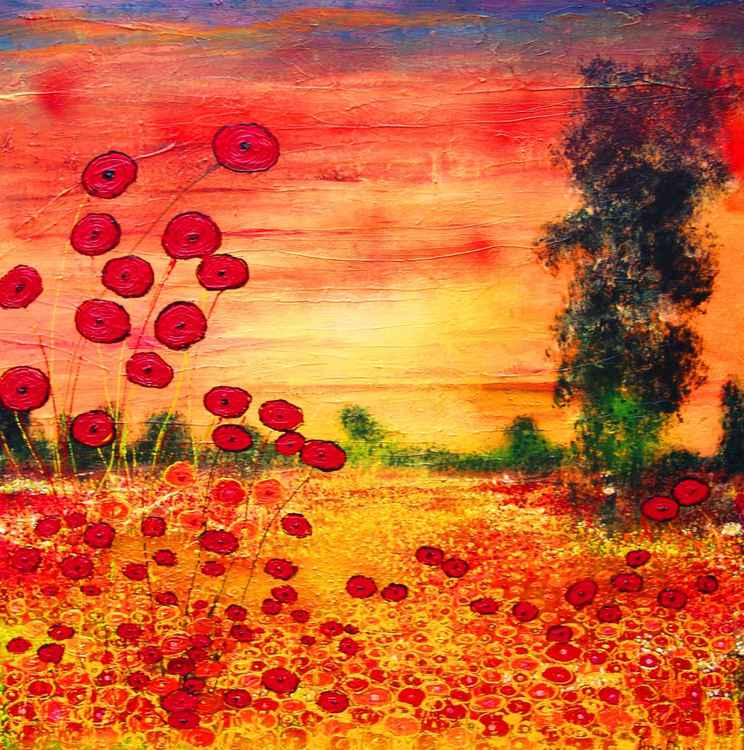 Orange/red landscape with flowers