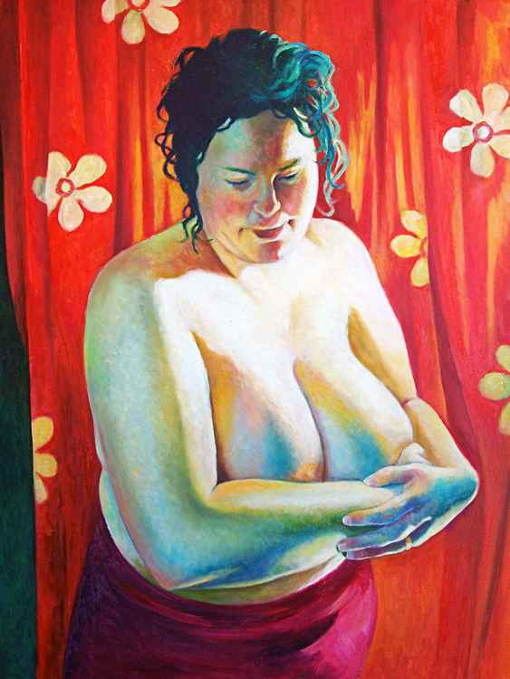 Nude In Front Of Red Cloth