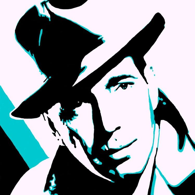 "Humphrey Bogart  - Monoprint on Forex Board - 11.81 x 11.81"" - FREE SHIPPING - Image 0"