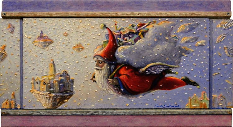 HERE COMES SANTA CLAUS - (framed 3D effect - triptych ) - Image 0