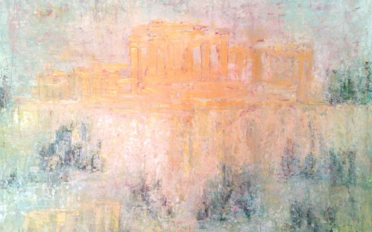 ACROPOLIS abstract painting Original Modern Abstract Painting On Stretched Canvas Board. Modern Acrylic Paint On Canvas - Perfect gift and walls decoration. Unique abstract artwork. - Image 0