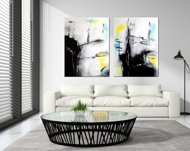 """""""Deepest Memory #2""""  Set of two Abstract paintings, 40""""x60"""" abstract contemporary painting black, white, grey - Image 0"""