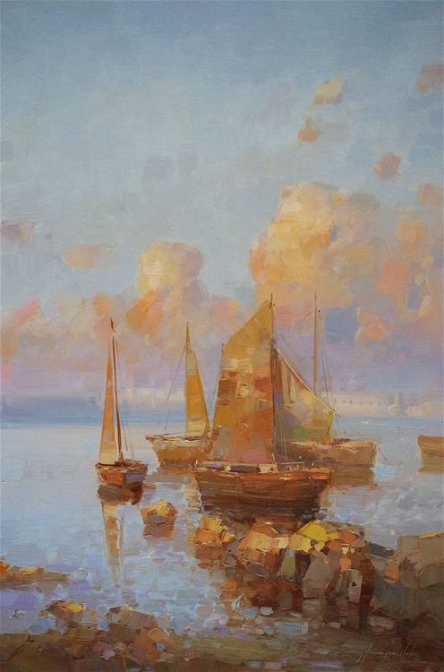 Sailing Boats Original oil painting  Handmade artwork One of a kind Large Size - Image 0
