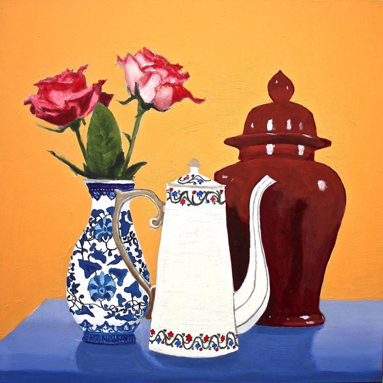 Two Roses, White Teapot, Maroon Ginger Jar - Image 0