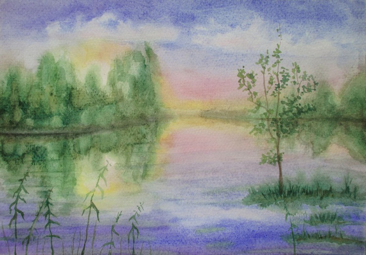 Early summer - watercolor landscape - Image 0