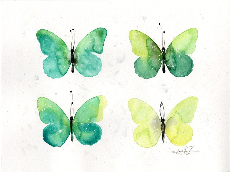 Four Butterflies 5 - Abstract Butterfly Watercolor Painting - Image 0