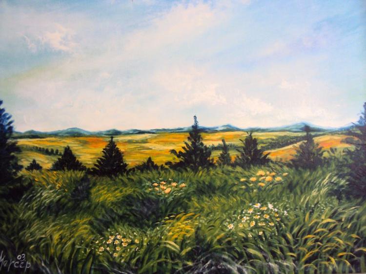 Landscape Original Oil Painting Field Flowers Realism - Image 0