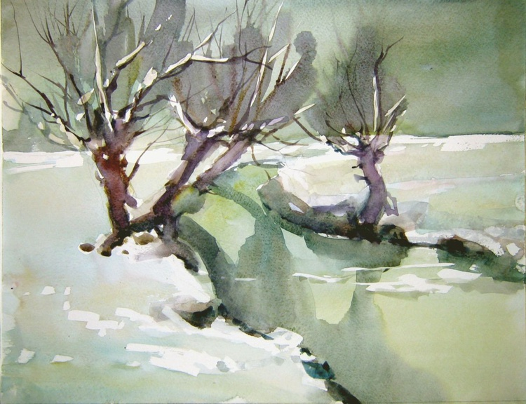 snowscape in green with willows - Image 0