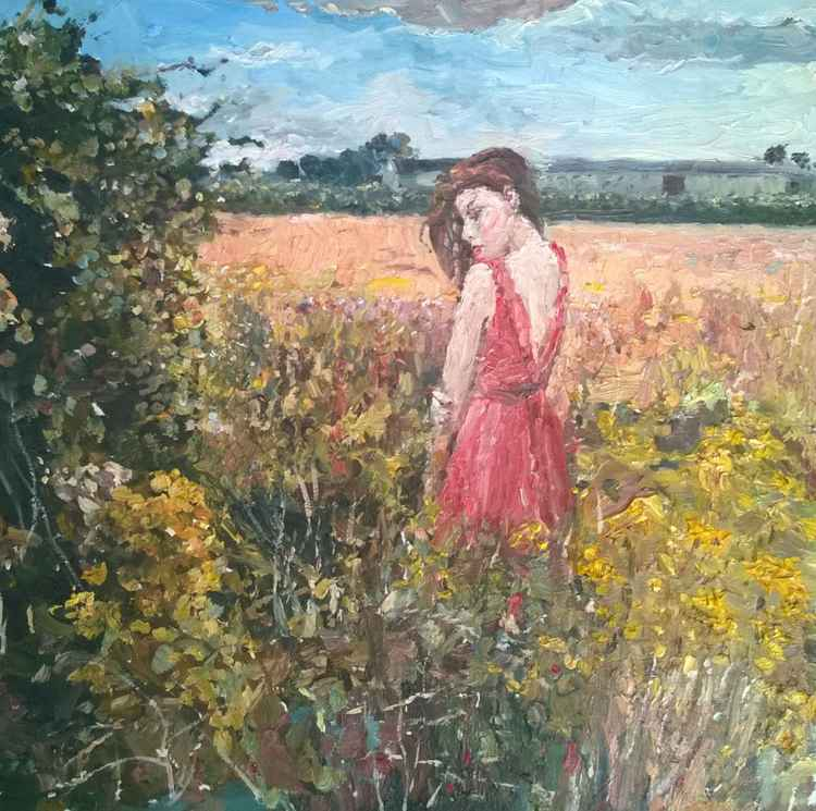 Woman in the Long Row Field