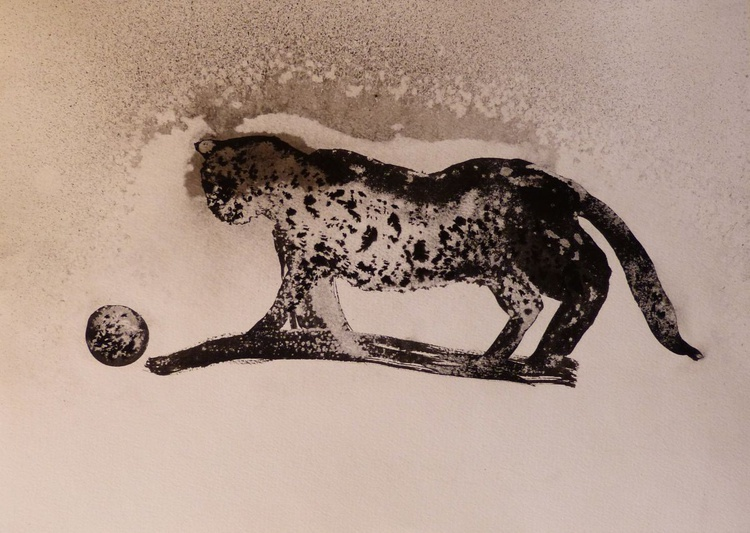 The Leopard Cat, ink drawing 29x42 cm - Image 0