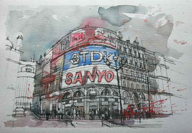 Piccadilly Circus, London. Watercolour and ink -