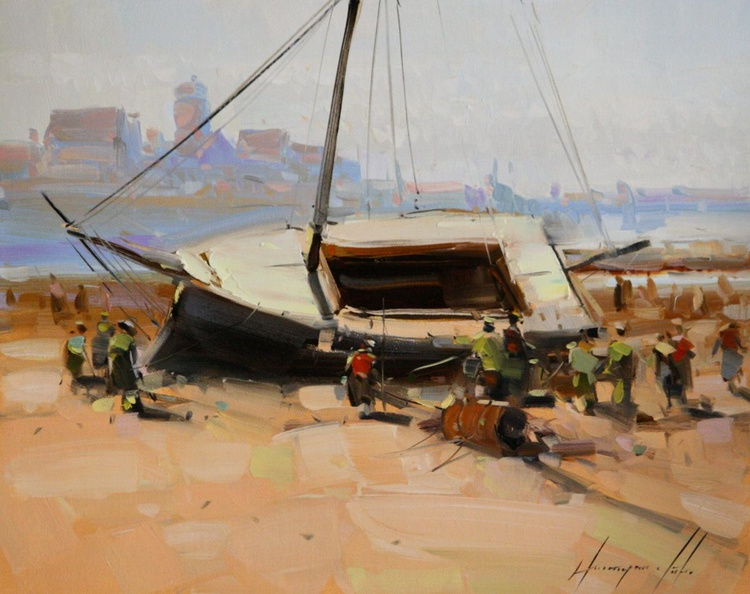 Boat on the Shore Oil painting on Canvas - Image 0