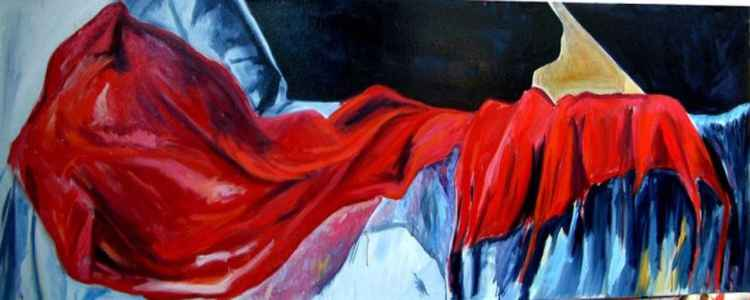 Red shawl, part of Nude Dancer series -