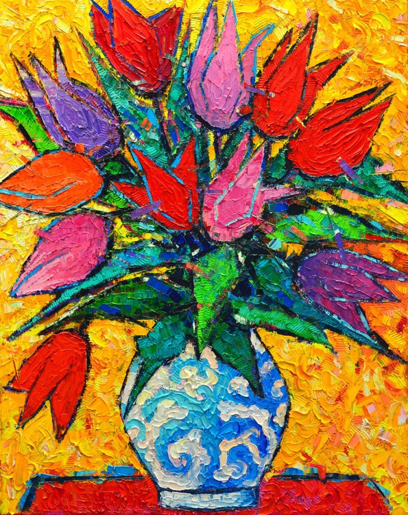 COLOURFUL TULIPS - modern impressionist palette knife oil painting - Image 0