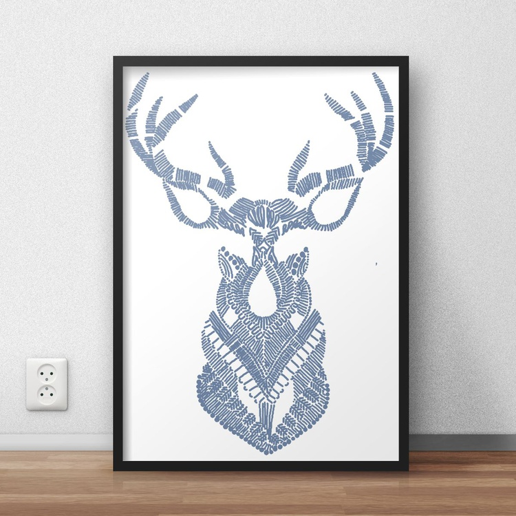 Hand Drawn Navy Blue Deer Framed Digital Artwork Print - Image 0