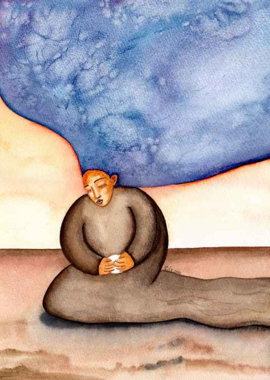 Under Her Protection Original Watercolor Painting -