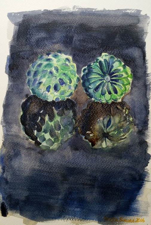 Sugar Apple fruits stilllife in watercolor - Image 0
