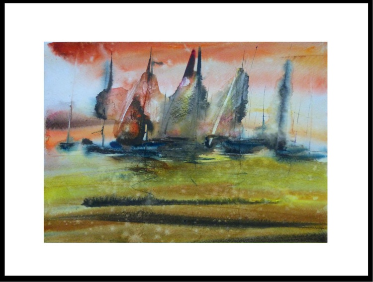 sailboats, watercolor painting 30x21 cm - Image 0