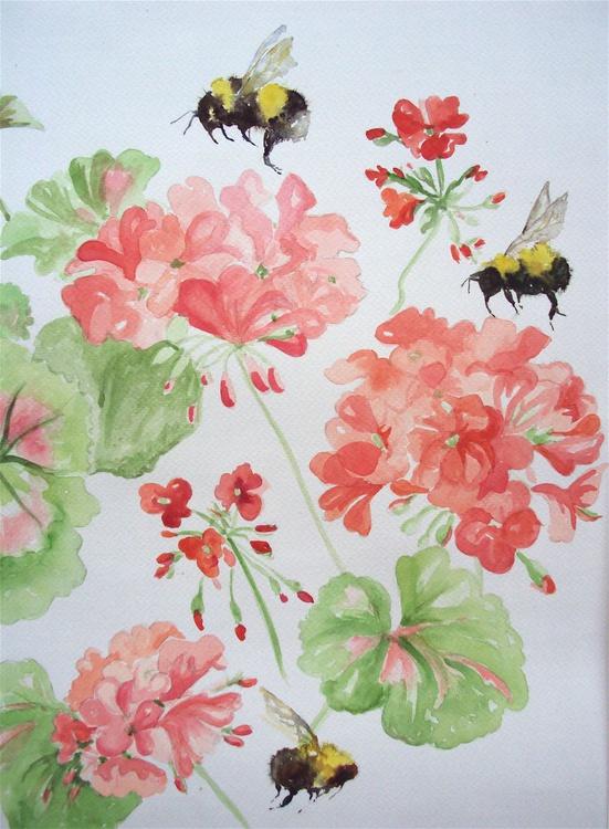 Bumble Bees & Geranium Flowers - Image 0