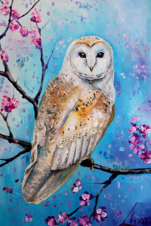 "Original oil painting of an owl, original art ""Blooming owl"" - Image 0"