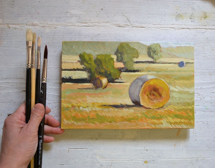 Hay Bales in the Morning Umbria Plein Air Italian Landscape Oil Painting - Image 0