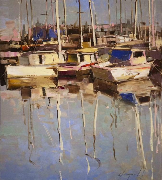 Sail Boats- Harbor Original Handmade oil painting on Canvas - Image 0