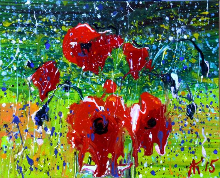 Poppies in the rain. original painting 25x20 cm - Image 0