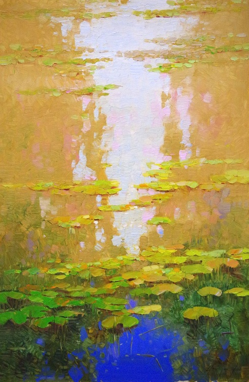 Water lilies - Autumn Colors, Original oil Painting, Impressionism, Handmade artwork, Large Size Painting, One of a Kind - Image 0