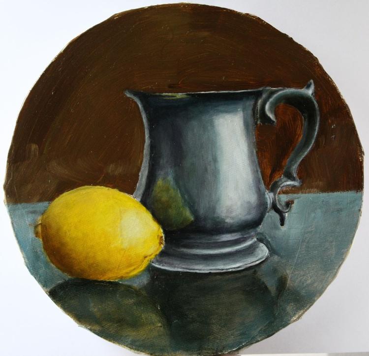 Jug and lemon. Still life - Image 0