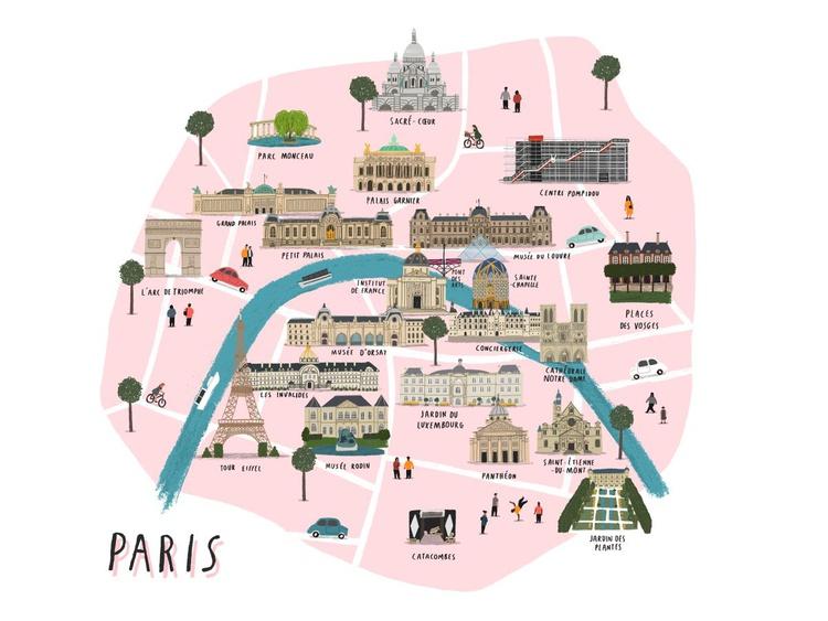 Paris map print (unframed) - Image 0