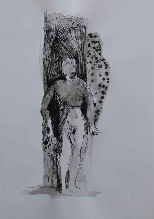 Solitary figure, 29x42 cm
