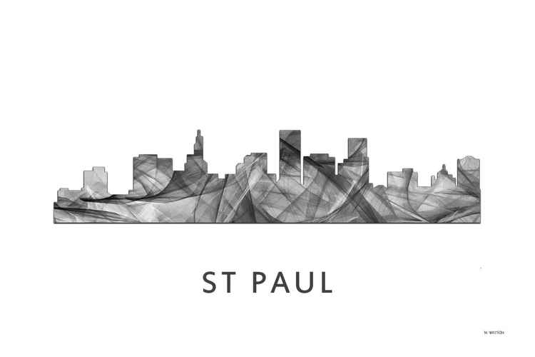 St Paul Minnesota Skyline WB BW