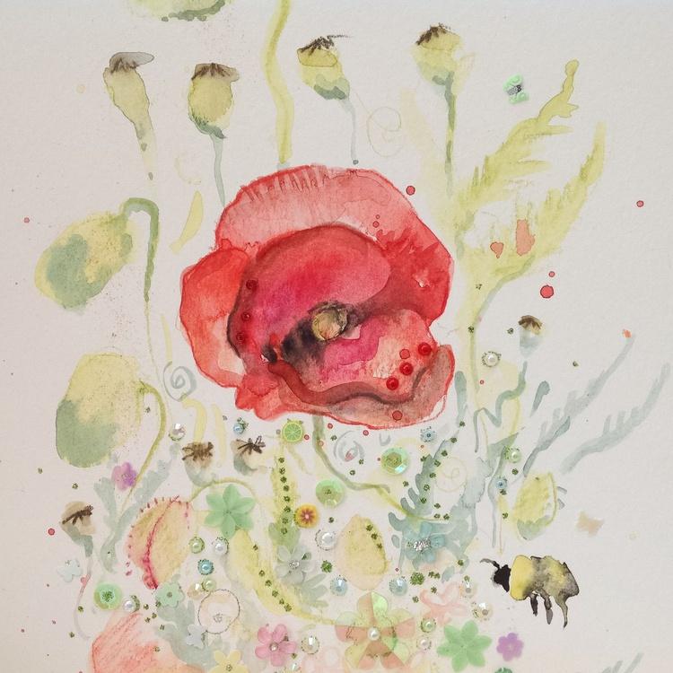 Poppy and Bee #01 - Embellished Artwork - Image 0