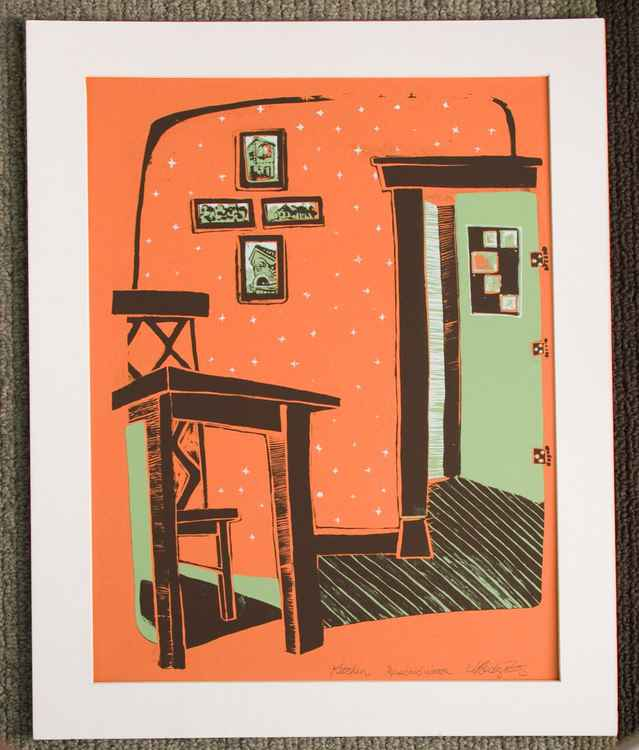 Kitchen Table on Orange, with Brown, White and Green Ink - 3 color Screen Print Original