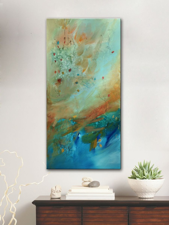 Stellar Spring Blossom II, abstract painting ready to hang - Image 0