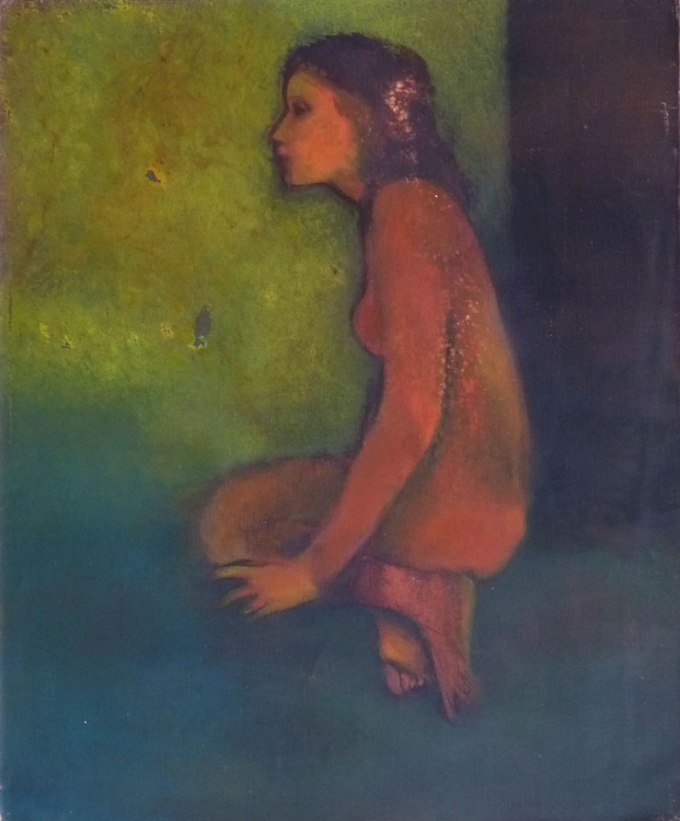 Nude in green, oil on canvas, 61x50 cm - Image 0