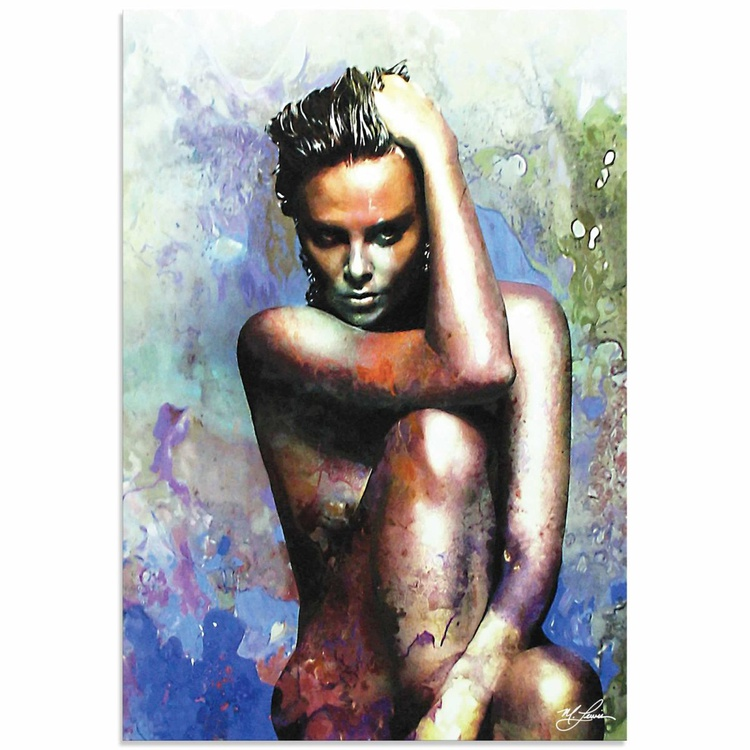 Mark Lewis 'Charlize Theron Blue Daze 2' Limited Edition Pop Art Print on Metal - Image 0