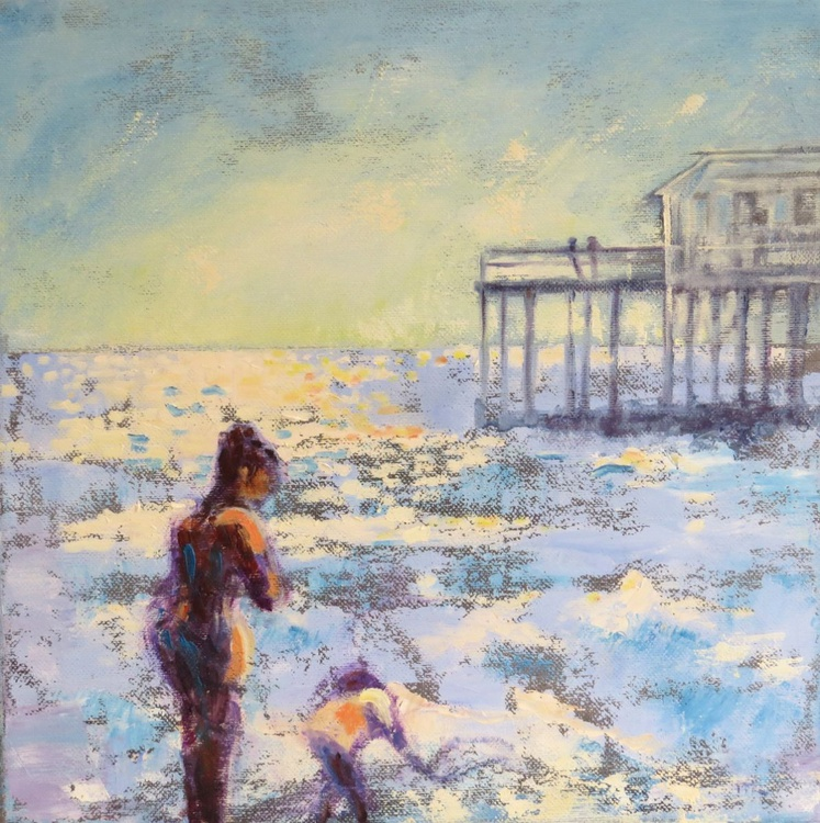 Mother and Child , the Sea and Southwold Pier. - Image 0